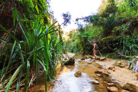 Hiking in the beautiful canyons of Isalo national park, Madagascar photo