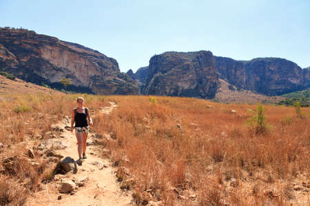Hiking in the beautiful backcountry of Isalo national park in Madagascar photo