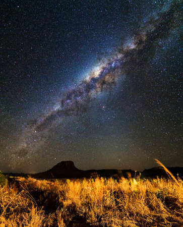 Beautiful panoramic image of the milky way seen from Isalo, Madagascar