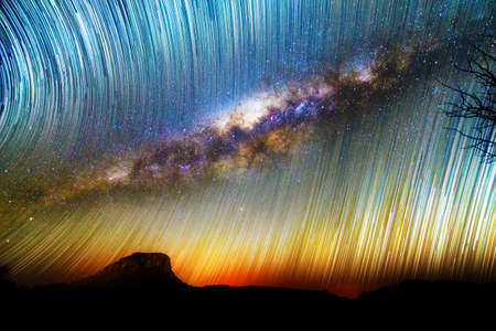 Amazing image of star trails and the milky way seen from Isalo, Madagascar Archivio Fotografico