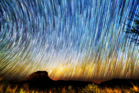 Amazing image of star trails and the milky way seen from Isalo, Madagascar Stock Photo