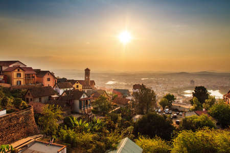 Beautiful cityscape panorama of Antananarivo Madagascar at sunset