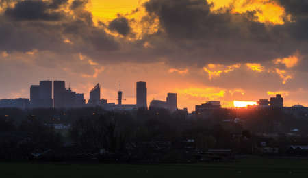 Beautiful dramatic skyline of The Hague in the Netherlands at sunset Stock Photo