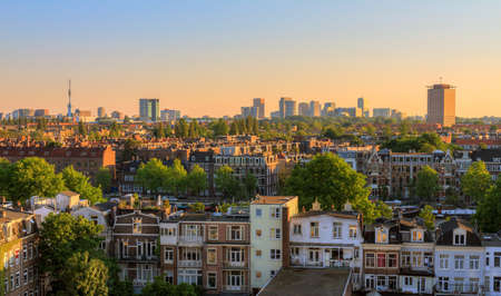 Beautiful cityscape looking over the city of Amsterdam in the Netherlands 스톡 콘텐츠