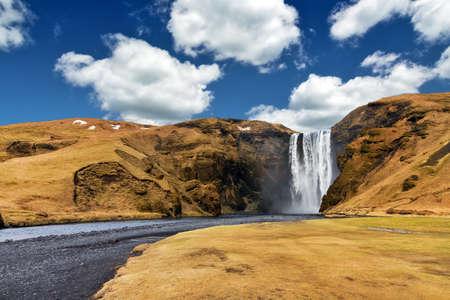 skogafoss waterfall: Beautiful view of the magnificent Skogafoss waterfall in Iceland