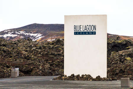 grindavik: Entrance to the Blue Lagoon, a touristic geothermal spa in Grindavik, Iceland, on February 6, 2014 Stock Photo
