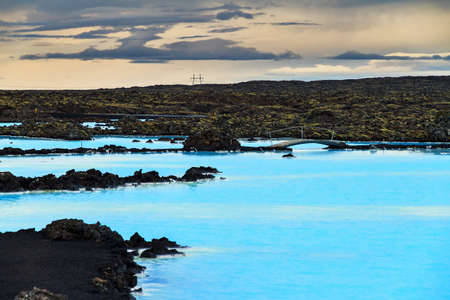 blue lagoon: Blue lagoon waters in the lava field landscape of Iceland in winter Stock Photo