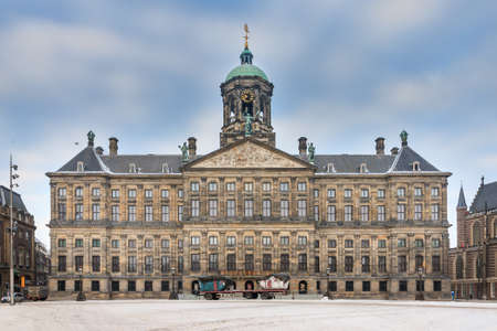 Beautiful winter view of the Royal Palace on the dam square in Amsterdam, the Netherlands