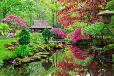 Beautiful Japanese garden in parkland Clingendael in Wassenaar, The Netherlands