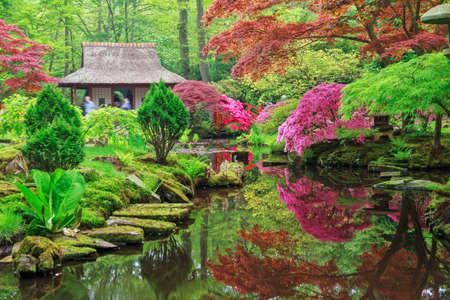 Hermoso jardín japonés en un parque Clingendael en Wassenaar, Países Bajos Foto de archivo - 47097700