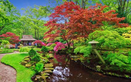 Mooie Japanse tuin in park Clingendael in Wassenaar, Nederland Redactioneel