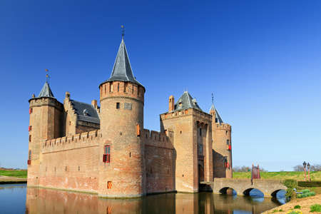 medieval: The Muiderslot in Muiden with moat, The Netherlands