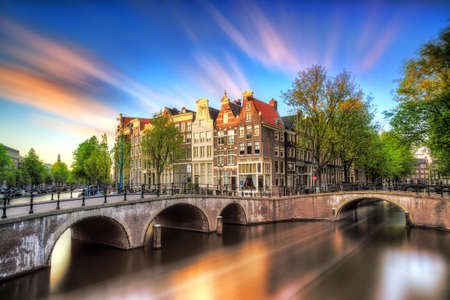 emperors: Beautiful sunset at the Emperors canal Keizersgracht canal in Amsterdam and Leiden in spring