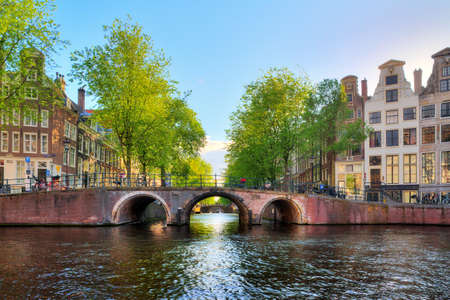 lord's: Bridge over the canal in Leiden at the Patricians or Lords canal Herengracht in Amsterdam in spring