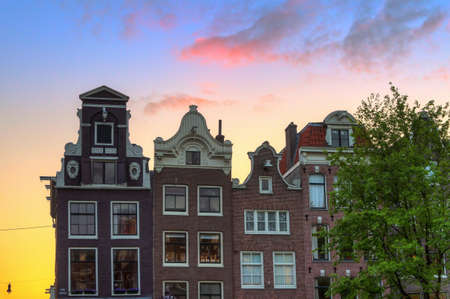 canal houses: Beautiful canal houses at the little nine streets in Amsterdam, the Netherlands, at sunset Stock Photo