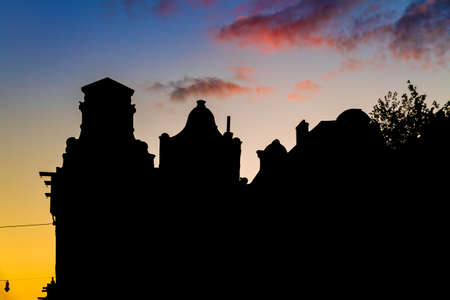 canal houses: Beautiful silhouettes of canal houses at the little nine streets in Amsterdam, the Netherlands, at sunset