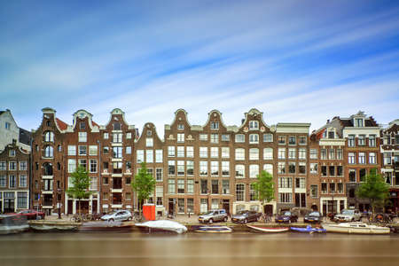 canal houses: Beautiful long exposure of the canal houses at the  Prinsengracht canal in Amsterdam Stock Photo
