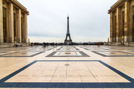 Beautiful view of the Eiffel tower seen from Trocadero square in Paris, France 版權商用圖片