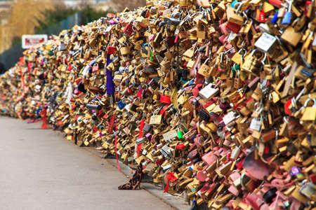 europe closeup: Close up of the padlocks on the Pont de lArcheveche Archbishops Bridge in Paris Editorial