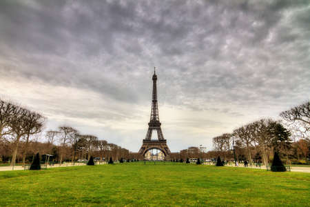 cloudy day: Beautiful cityscape of the Eiffel Tower on a cloudy winter day in Paris Stock Photo