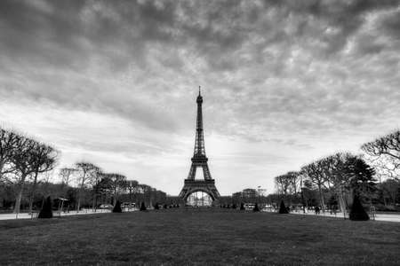 cloudy day: Beautiful cityscape of the Eiffel Tower on a cloudy winter day in Paris in black and white