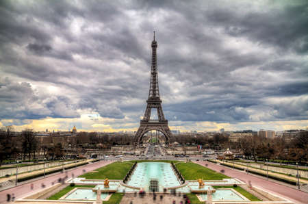 eiffel: Beautiful cityscape of the Eiffel Tower on a cloudy winter day in Paris Stock Photo