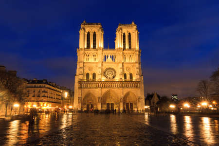 blue hour: Beautiful view of the Notre-Dame Cathedral in Paris at the blue hour at night