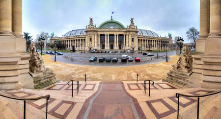 palais: 180 degree panoramic view of the Grand Palais in Paris, seen from the Petit Palais