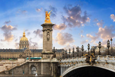 iii: Pont Alexandre III and Les Invalides in Paris with a beautiful cloudscape