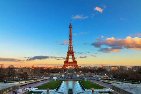 eiffel: Beautiful view of the Eiffel tower in Paris, France, at sunset