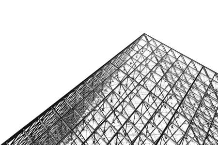 louvre pyramid: The Louvre pyramid in Paris isolated on a white background