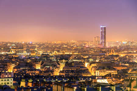 paris at night: Beautiful Paris night cityscape seen from Montmartre with the tour Montparnasse skyscraper at night