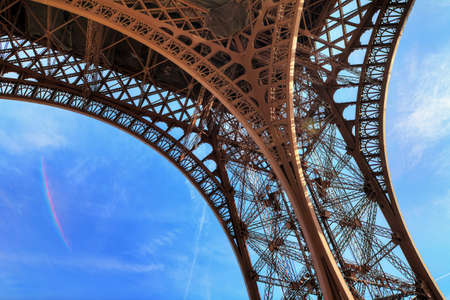 underneath: Beautiful view of the Eiffel tower seen from beneath in Paris