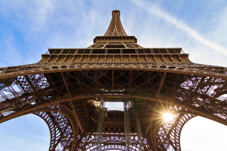 beneath: Beautiful view of the Eiffel tower seen from beneath in Paris