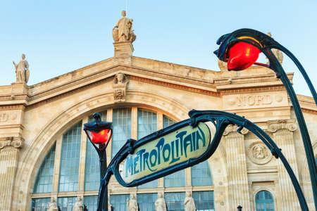 Subway sign at Gare du Nord in Paris, France