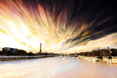 timelapse: Composite timelapse art of the river Seine and the Eiffel tower in Paris, France