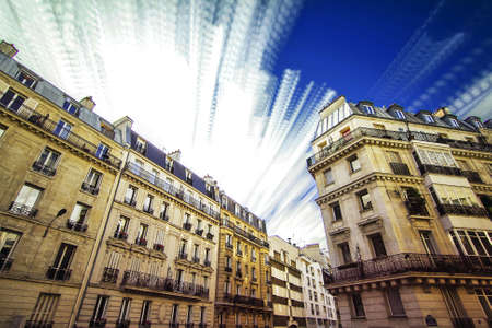 timelapse: Timelapse composite image of appartement buildings in Paris, France Stock Photo