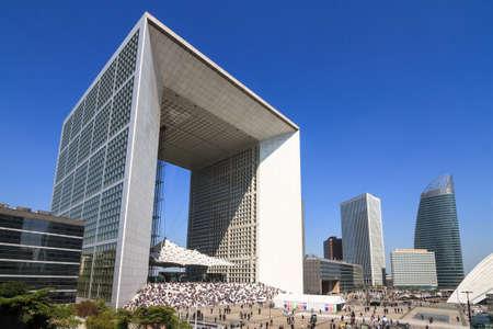 la defense: Beautiful modern building La Grande Arche de la Defense in Paris, France, on April 10, 2014