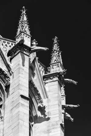 gargoyles: Sainte-Chapelle (Holy Chapel) ornate details and gargoyles in Paris, France