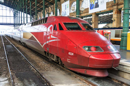 high speed train: People travel with the high speed train Thalys at Gare du Nord in Paris, France, on April 11, 2014