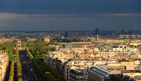 Beautiful view of the shadow of the Arc de Triomphe over the city of Paris, France