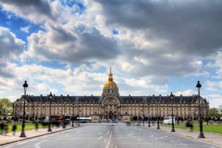 invalides: Spring clouds over Invalides in Paris, France