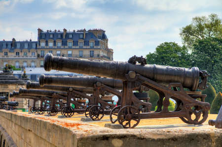 invalides: Beautiful view of the cannons at Invalides in Paris, France Editorial