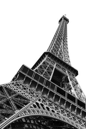 黒と白で分離されたパリの下から見たエッフェル塔の美しい景色