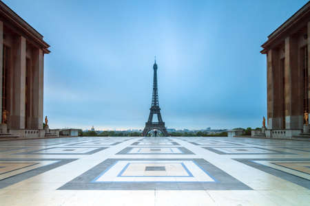 Beautiful view of the Eiffel tower seen from Trocadero square in Paris, France Stock Photo