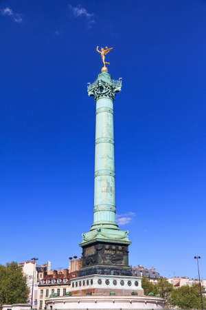 bastille: The July Column, Colonne de Juillet, on the Place de la Bastille in Paris, France