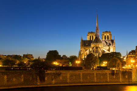 blue hour: The Notre-Dame cathedral in the blue hour in Paris, France