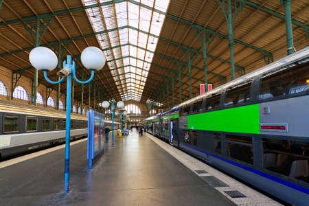 nord: Trains at the platform at Gare du Nord Paris, France, on April 15, 2014