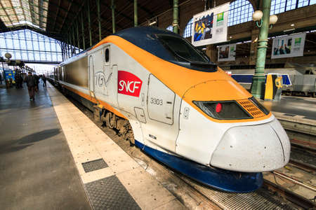 france station: TGV at station Gare du Nord in Paris, France, on April 15, 2014