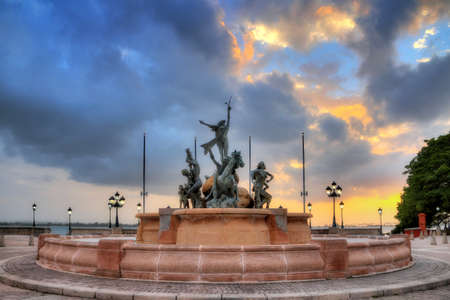 rico: The Raices (Roots) Fountain at sunset in San Juan, Puerto Rico